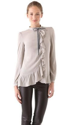 love the softness paired with some leather jeans :: RED Valentino Ruffle Blouse with Velvet Bow