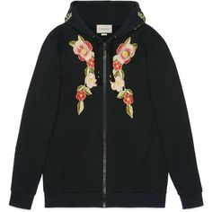 Gucci Embroidered Hooded Sweatshirt (47,070 MXN) ❤ liked on Polyvore featuring tops, hoodies, gucci, jackets, outerwear, sweaters, black, flower hoodie, oversized hoodie and logo hoodies