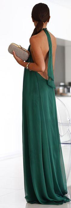 Green Halter Gown