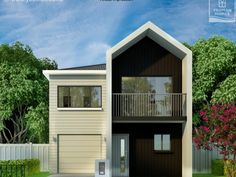 Yeoman Homes Hamilton NZ render narrow lot home 2 storey house 2 Storey House, Hamilton, Garage Doors, Shed, Outdoor Structures, Homes, Building, Outdoor Decor, Home Decor