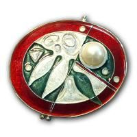 <p>Brooch - Botanica<br />2002<br />40mm x 35mm<br />Stg and fine silver, cloisonné enamel, freshwater pearl.</p> <p>Sold</p>