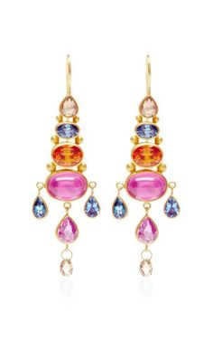 One of A Kind Rose Cut Pear Shape Brown Diamond Chandelier Earrings by Mallary Marks for Preorder on Moda Operandi