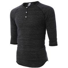 LE3NO PREMIUM Mens Slim Fit Raglan 3/4 Sleeve Baseball Button Henley... ❤ liked on Polyvore featuring men's fashion, men's clothing, men's shirts, men's casual shirts, mens raglan sleeve shirts, mens raglan shirts, men's curved hem t shirt and mens three quarter sleeve shirts