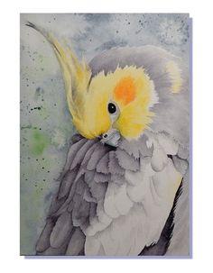 Bird Cockatoo Peekaboo Watercolor Giclee Art by BmeowHealingArt Watercolor Bird, Watercolor Animals, Watercolor Paintings, Oil Paintings, Watercolors, Bird Drawings, Cute Drawings, Japanese Ink Painting, Australian Birds