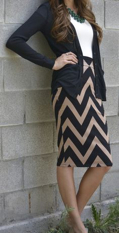 Fall Work Outfit With Plain Cardigan and Chevron Skirt--Just & Darling!Chic In Simplicity.I Want This Look! Fashion Mode, Work Fashion, Modest Fashion, Womens Fashion, Workwear Fashion, Classy Fashion, Skirt Fashion, Cardigan Fashion, Fashion Trends