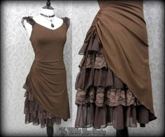 Steampunk Romantic Lacey Brown Bustle Effect Hitched Dress 14 Victorian Goth by Donna Bella