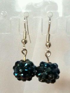 Handgemachte Ohrringe Ohrhänger schwarz blaue Discokugel Strassperlen
