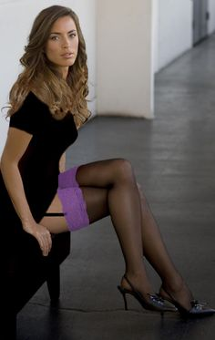 Love the purple topped black stockings.