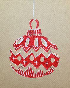 Weihnachtskugel Linoldruck. #weihnachtspost