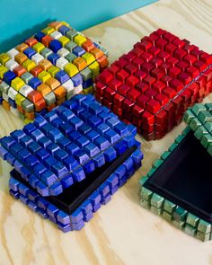 Keyboard recycled art boxes...died with Rit dye!  Doing it!