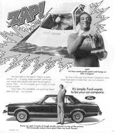 1977 ad featuring Bill Cosby and highlighting the Ford painting process.