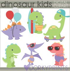 Dinosaur Clip Art Personal and Limited Commercial by DorkyPrints