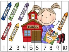 Back to School Math Centers and Activities 1st Day Of School, Beginning Of School, Back To School, Math Stations, Math Centers, Kindergarten Math, Preschool, Puzzles, Primary Maths