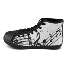 Music High Top Canvas Women's Shoes(Model002)(Large Size)