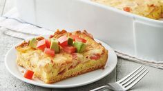 This cheesy breakfast bake is made with a flaky crescent crust and topped with fresh avocado.
