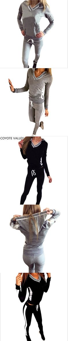 new v-neck suit for the 2017 fashion trend Leisure 2 Piece Set Letter Printed Hoodies + Pants Women's Tracksuits Fashion Slim