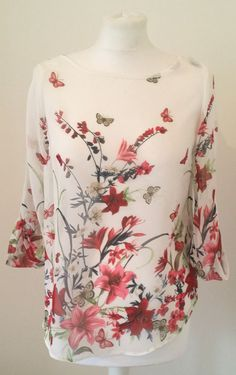 K&D SHEER FLORAL TOP BLOUSE SPRING SUMMER WHITE RED CHIFFON BUTTERFLY PRINT