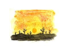 Cactus.  Desert Collection 4.  Ink and Watercolor on paper drawing. By Diego A.