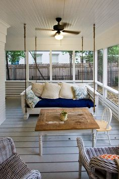 Napworthy porch. A covered porch is the perfect place for napping — the fresh air and gentle breeze soothe, but the roof is there to protect...