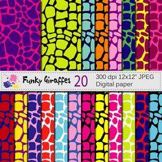 Funky Giraffes Digital Paper Set Wild Animal by VRDigitalDesign