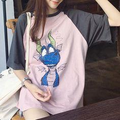 Pink/Beige Loose Kawaii Cartoon Shirt SP1812244