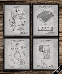 Vintage patent bathroom set patent print by UniquelyGiftedArt