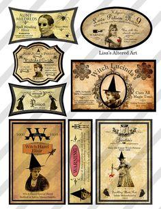 Digital Collage Sheet Vintage Halloween Potion  Labels Sheet