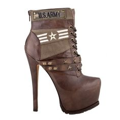 shoes high heels army boots ankle boots brown high heels sexy shoes