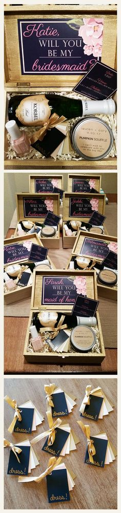 my bridesmaid invitation boxes - all you need is a craft store, paint samples, some patience, and a lot of wine. click for link to custom label candles from Ellery Mae Candles on Etsy. all the girls said they could smell the amazing pumpkin before the box was even open :)