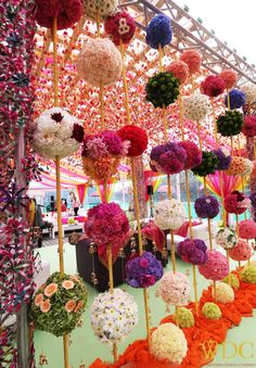 Flower Decoration for Wedding Stage Lovely Beautiful Colorful Floral Balls for Mehendi Decor See More The Effective Pictures We Offer You About wedding decorations reception A quality picture can tell Desi Wedding Decor, Wedding Hall Decorations, Marriage Decoration, Quirky Wedding, Wedding Show, Flower Decorations, Wedding Ceremony, Ethnic Wedding, Outdoor Ceremony