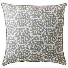 "Target: Room Essentials® Oversized Dots Toss Pillow - 24x24""  Silver and gold with teal couches and cream carpet = family room"