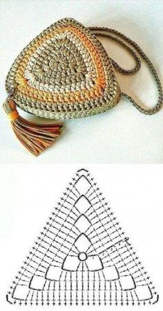 Copie e lucre: Bolsa pequena de fio de malha ⋆ De Frente Para O Mar - Crochet simple - Crochet Diy, Crochet Motifs, Crochet Tote, Crochet Purses, Love Crochet, Crochet Crafts, Crochet Stitches, Crochet Projects, Beautiful Crochet