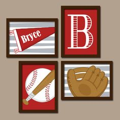 Baseball Boy Wall Art Nursery Artwork Child Red Custom Colors Monogram Name Ball Glove Bat Flag Pennant Set of 4 Prints Baby Decor Crib