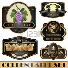 gold-framed labels on different topics photo