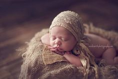 Newborn Tan Lace Bonnet - Fabric Bonnet - Lace - Newborn Photography Prop