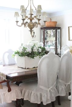 Antique White Linen Dining Chair Slipcovers