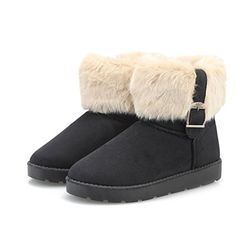 Jenssa Womens Faux Suede Belt Design Snow Boots Winter Shoes 8 Black -- More info could be found at the image url.