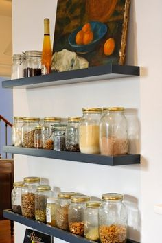 Bryn Mawr English Tudor Kitchen Remodel - transitional - kitchen - philadelphia - Pinemar, Inc Tudor Kitchen, Kitchen Redo, Kitchen Shelves, Kitchen Storage, Kitchen Remodel, Kitchen Dining, Food Storage, Dining Rooms, Blue Shelves