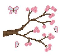 Baby Cross Stitch Pattern PDF, Butterfly and Flowering Tree, by CrossStitchDiva, $4.50 on Etsy