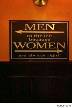 washroom sign: men to the left, women to the right