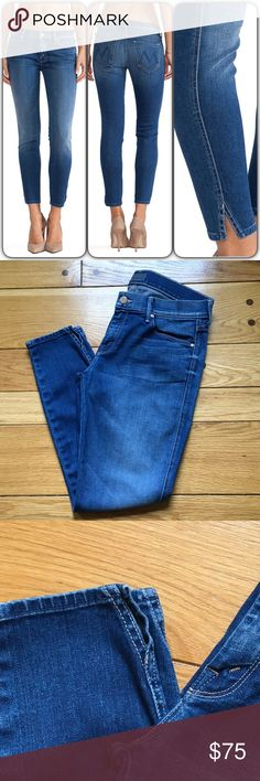 """MOTHER The Vamp Jeans Like new condition, with no signs of wear. Gorgeous, very soft jeans. Wash - Spiked Heels To Tractor Wheels 92% cotton , 6% poly , 2% elastane 13"""" in the knee narrows to 10"""" at the leg opening Very slight whiskering along front pockets Side seam slits at let opening. When flat, waist measures about 15-15.5"""" across, front rise is 9"""" and inseam is about 28"""". Tapered at ankles. MOTHER Jeans"""