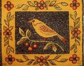 Bird on a Cherry Branch - Original Hooked Rug Pattern - FREE SHIPPING