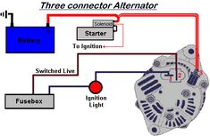 3 wire alternator wiring diagram - Google Search