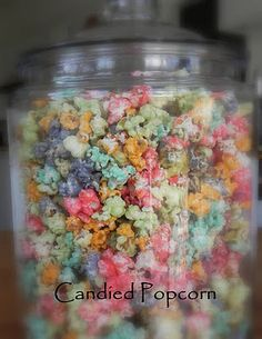 Candied Popcorn So fun and used only 3 ingredients: Popcorn, Sweetened Condensed Milk, and Jello!