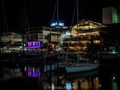 Viaduct Harbour on a rainy night in Auckland New Zealand