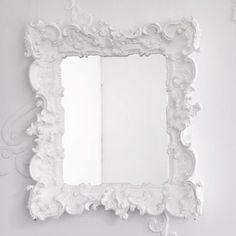 Nice white hand carved mirror