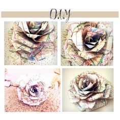 diy map page roses.  love these.