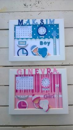 CORNICI NASCITA di CARTAcadabra su Etsy Diy Baby Gifts, Baby Crafts, Baby Shower Gifts, Diy And Crafts, Crafts For Kids, Shadow Box Memory, Baby Frame, Birthday Gifts For Husband, Foto Baby