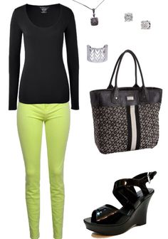 My Wardrobe: Statement piece - neon citron skinnies, long sleeve black tee, black patent wedges, silver accents, Tommy Hilfiger bag #outfit #style