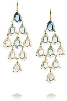 These are absolutely stunning. Gemma Cascade 18-karat gold, quartz and topaz earrings #accessories #women #covetme #ippolita